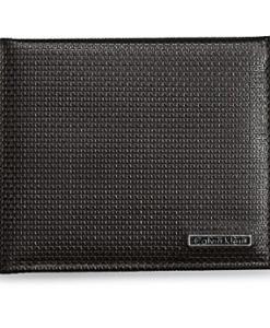 Carteira Calvin Klein Mens Grid Texture Aviator Billfold Leather Wallet