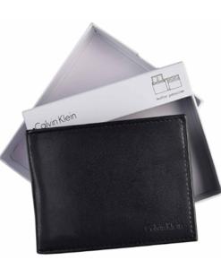 Carteira Calvin Klein Men's Leather Passcase Bifold Wallet-Black