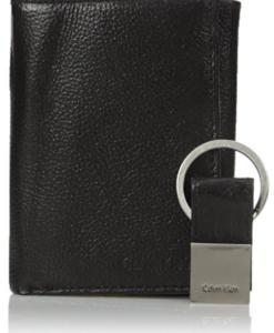Carteira Calvin Klein Men's Pebble Leather Slim Trifold Wallet and Key Fob Set