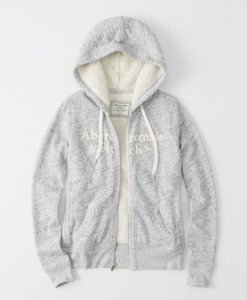 Agasalho Abercrombie & Fitch Sherpa Full-zip Hoodie light gray