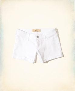 Short Hollister Low-Rise Denim Midi Shorts Branco