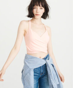 Abercrombie & Fitch Cropped Wrap Tank Light Pink