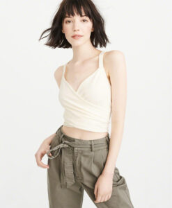 Abercrombie & Fitch Cropped Wrap Tank Off White