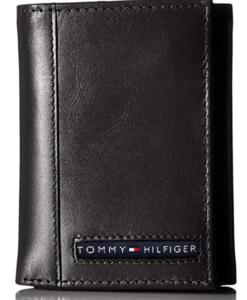 Tommy Hilfiger Men's Leather Cambridge Trifold Wallet black